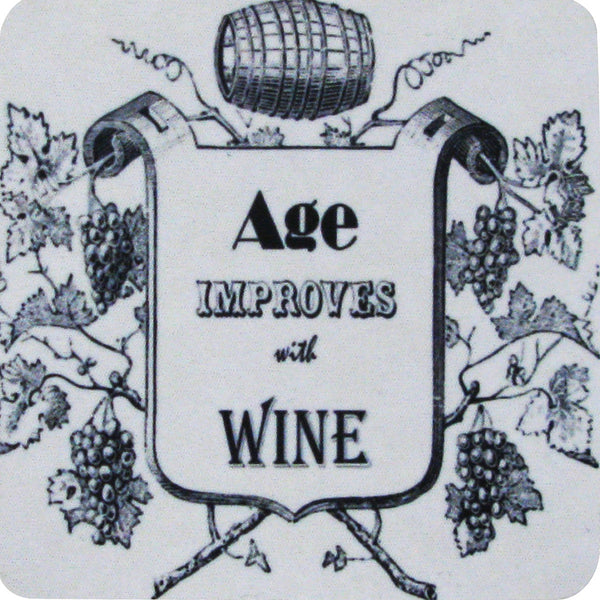 Age Improves with Wine Coaster S/4 - Golden Hill Studio