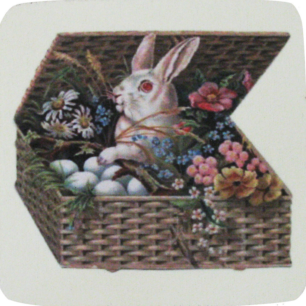 Bunny in Basket Coaster S/4 - Golden Hill Studio