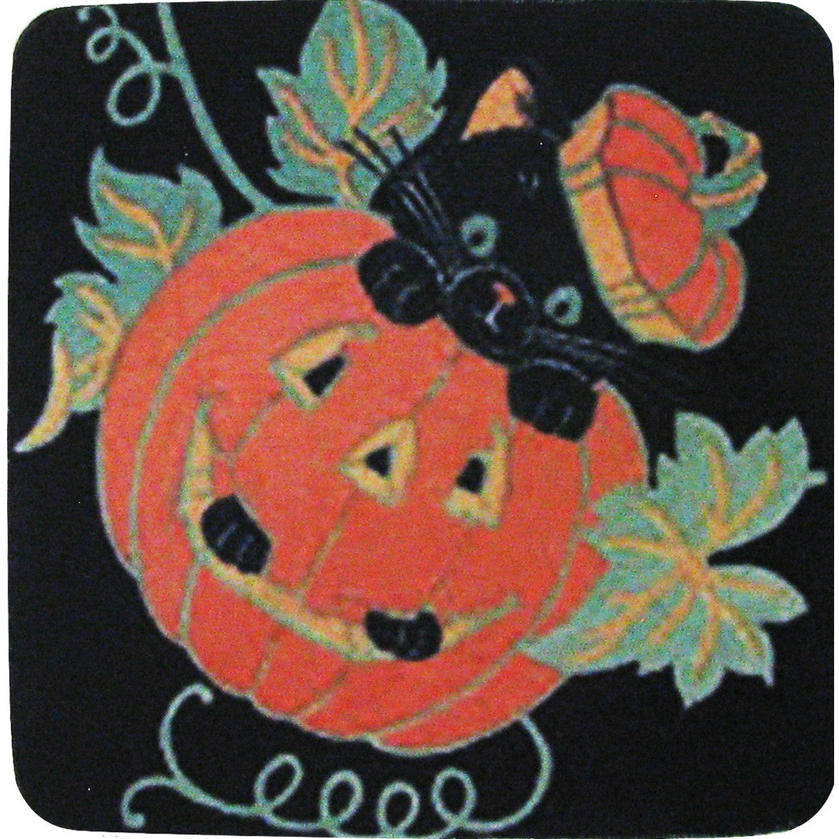 Black Cat with Pumpkin Coaster S/4 - Golden Hill Studio