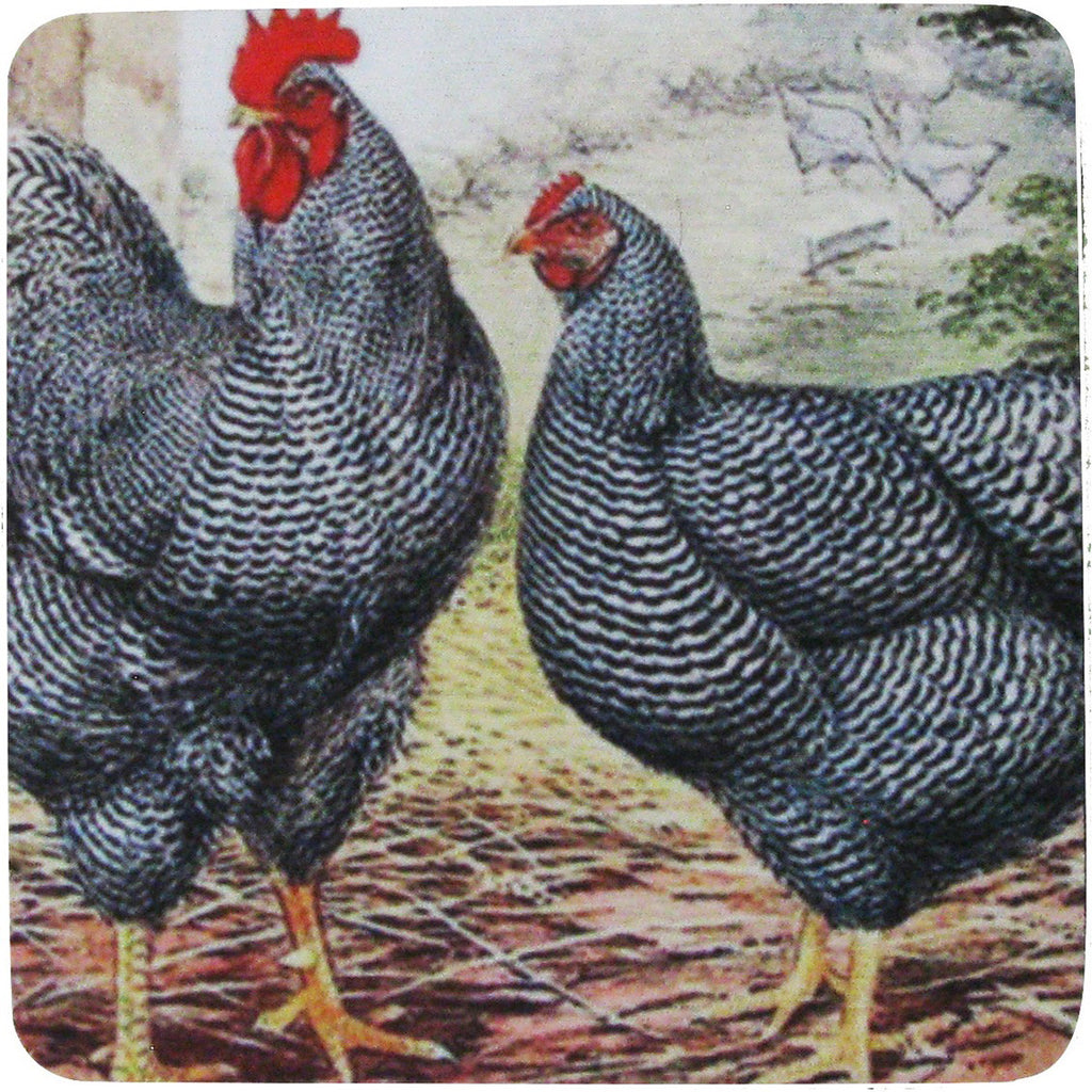 Rooster & Hen 6 Coaster S/4 - Golden Hill Studio