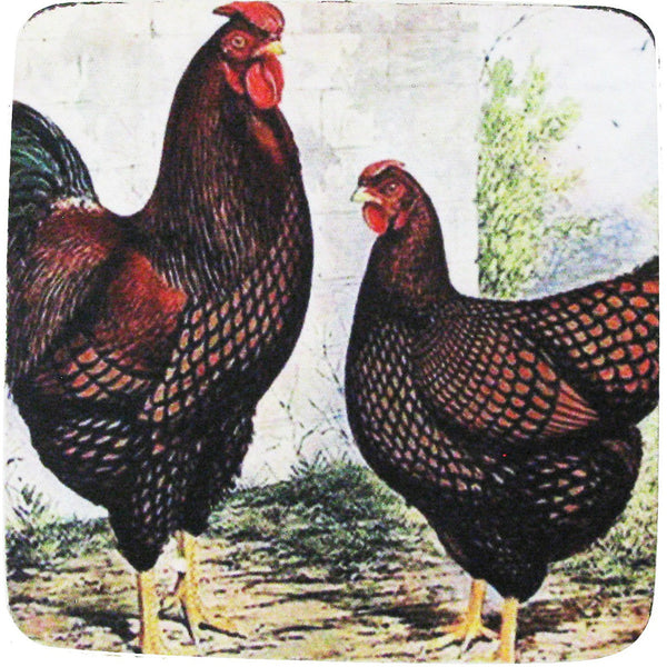 Rooster & Hen 7  Coaster S/4