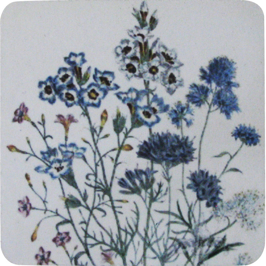 Blue Floral Coaster S/4 - Golden Hill Studio