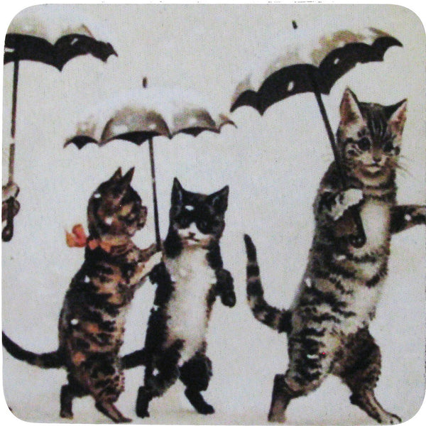 Cats with Umbrellas Coaster S/4 - Golden Hill Studio