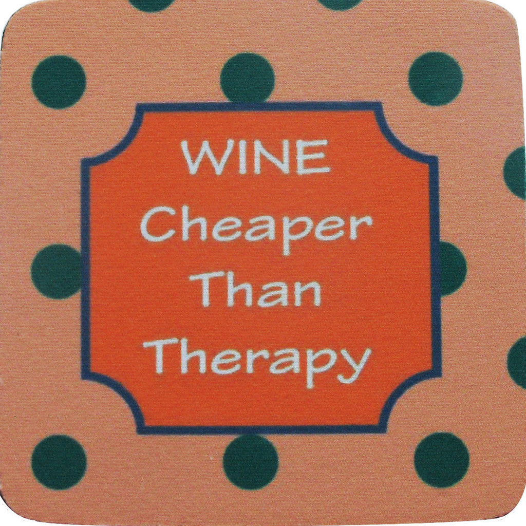 Cheaper than Therapy/Stripes Coaster S/4 - Golden Hill Studio