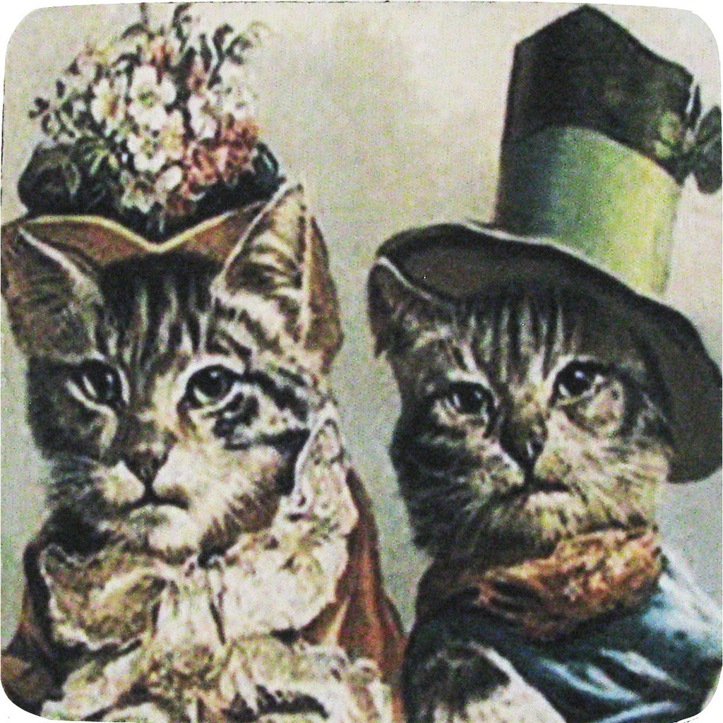 Cat Couple Coaster S/4 - Golden Hill Studio