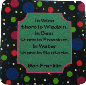 In Wine there is/Stripes Coaster S/4 - Golden Hill Studio