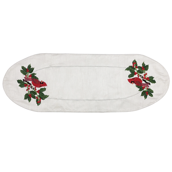 Embroidered Cardinal Table Art Runner - Golden Hill Studio