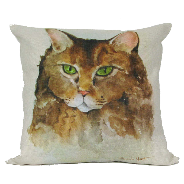 Green Eyed Cat Throw Pillow 18 x 18