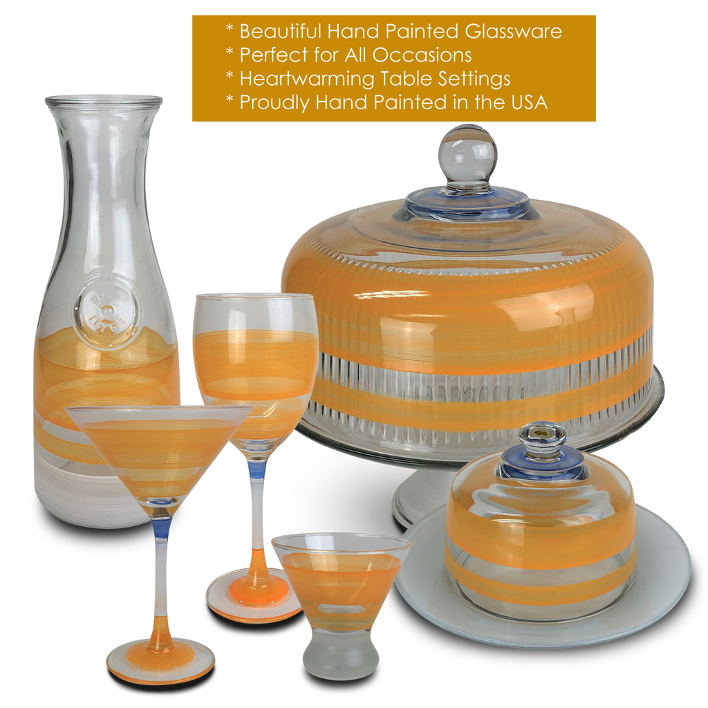 Cape Cod Cottage Stripe Orange Martini   Set of 2 - Golden Hill Studio