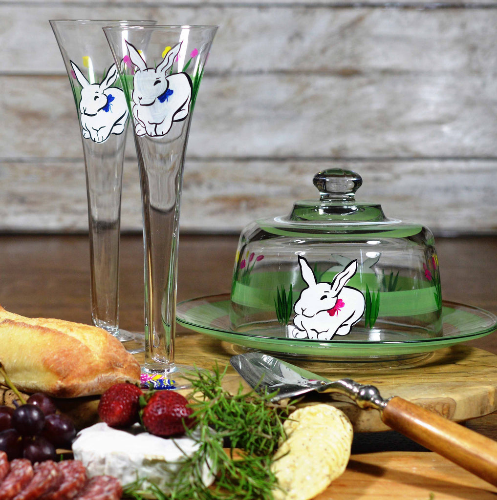 Springtime Bunny and Tulips Hollow Flute S/2 - Golden Hill Studio