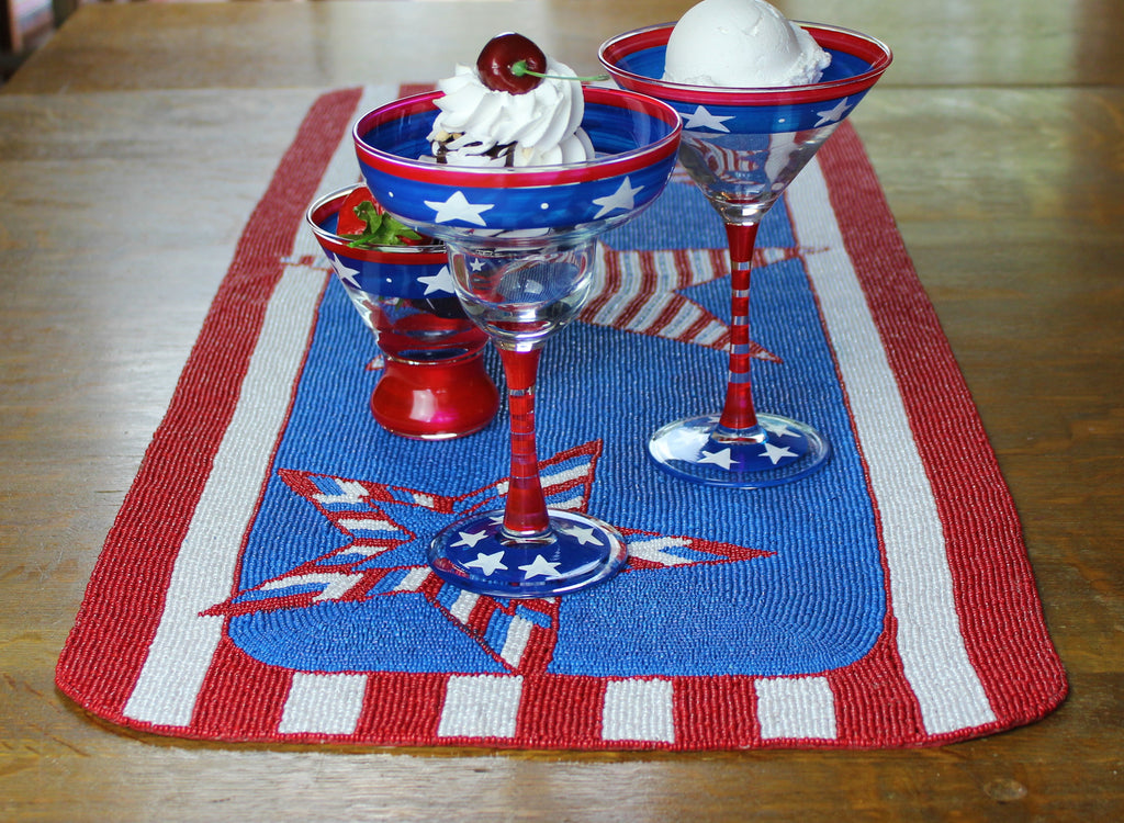 Patriotic Beaded Table Runner - Golden Hill Studio