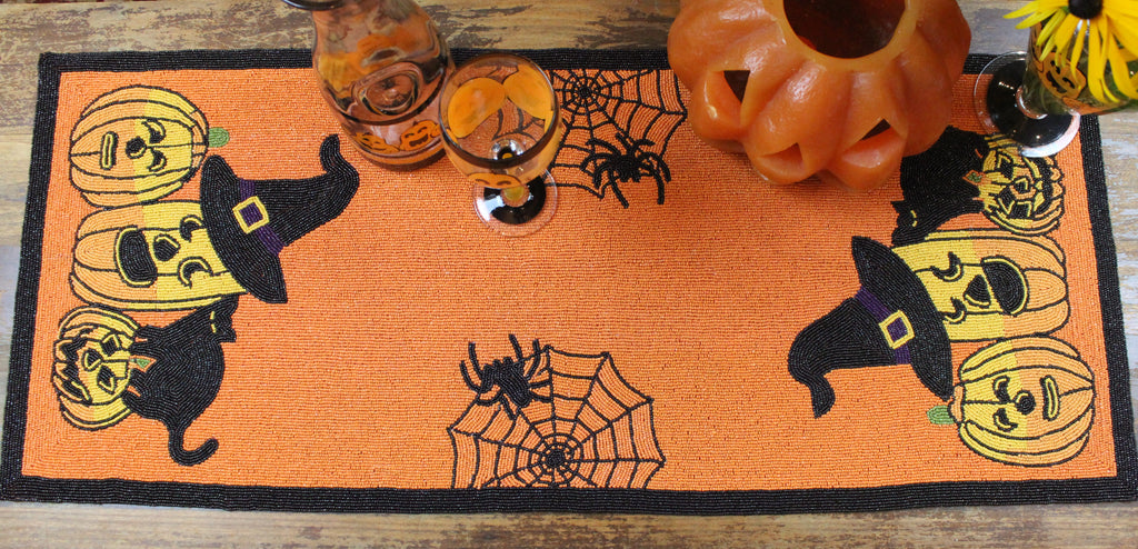 Halloween Beaded Table Runner - Golden Hill Studio