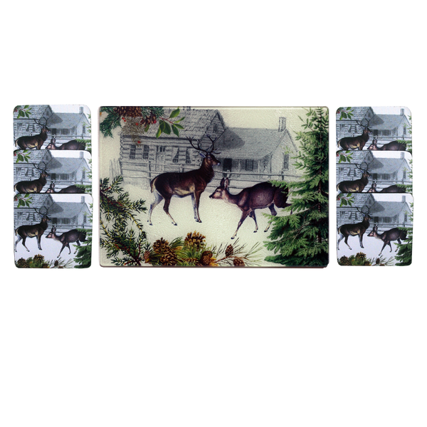 Deer & Doe Cheese Tray/Cutting Board & Coaster Set