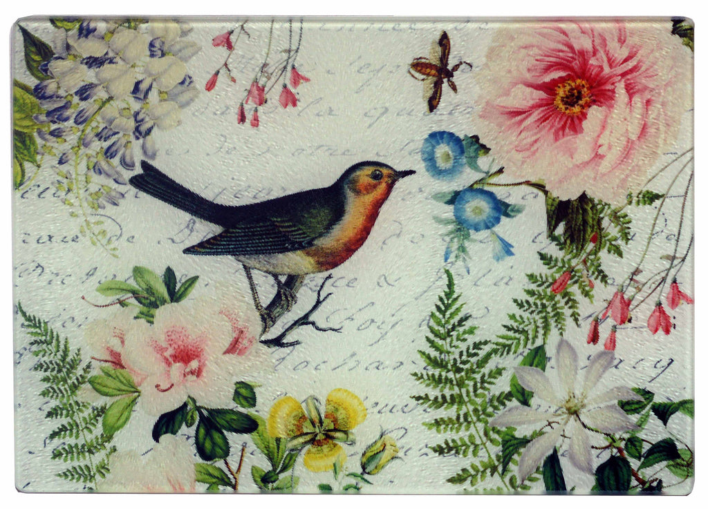 Bird & Floral Cheese Tray/Cutting Board - Golden Hill Studio