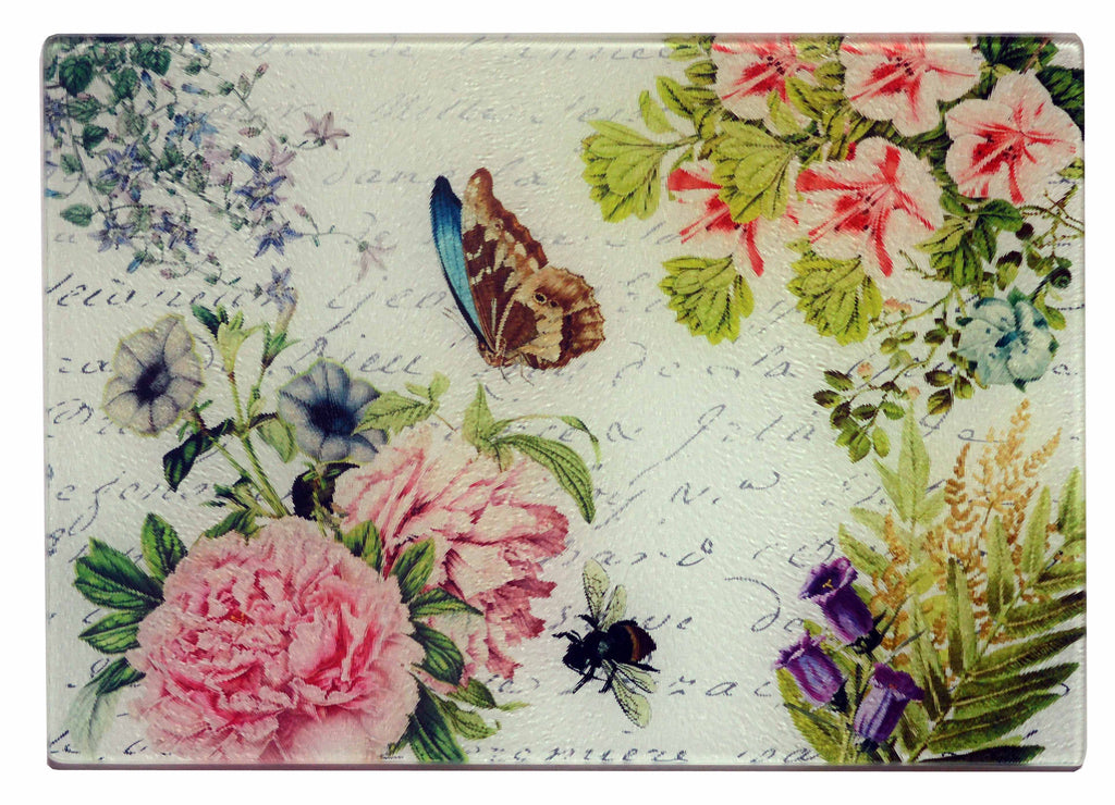 Butterfly Floral Cheese Tray/Cutting Board - Golden Hill Studio