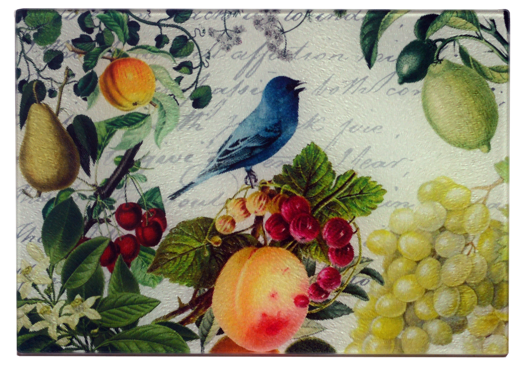 Bluebird & Fruit Cheese Tray/Cutting Board - Golden Hill Studio