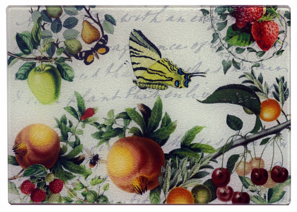 Butterfly & Fruit Cheese Tray/Cutting Board - Golden Hill Studio