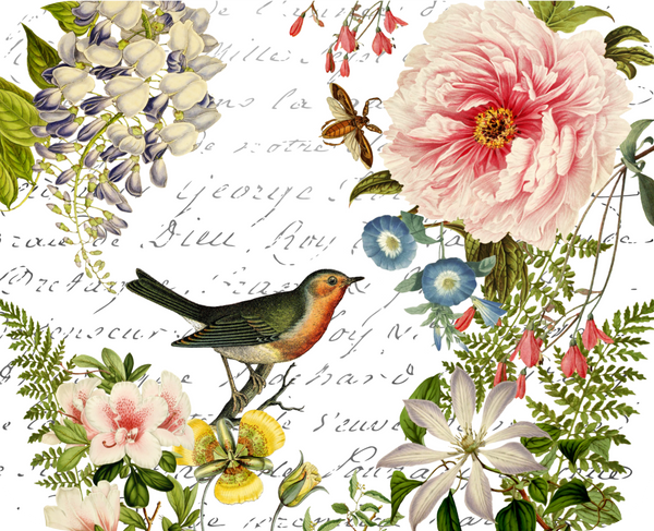 "Bird Floral Botanical Hot Plate/Mouse Pad  9 1/2"" x 7 3/4"""