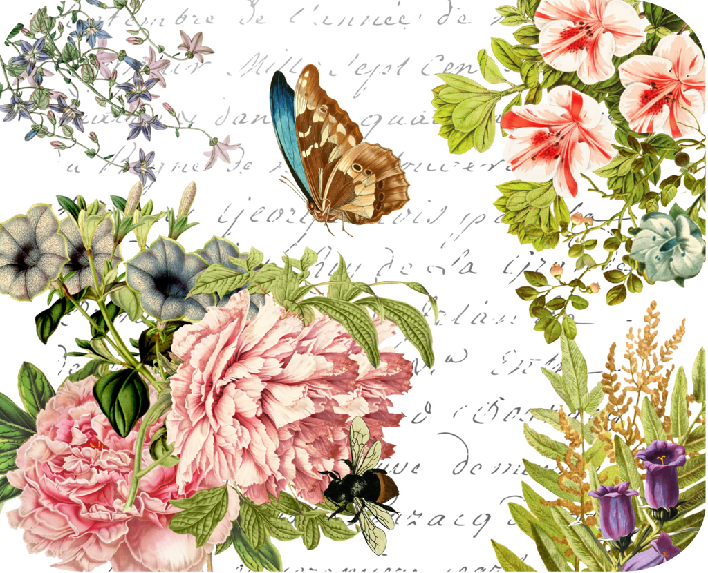 "Butterfly Floral Botanical Hot Plate/Mouse Pad  9 1/2"" x 7 3/4"" - Golden Hill Studio"