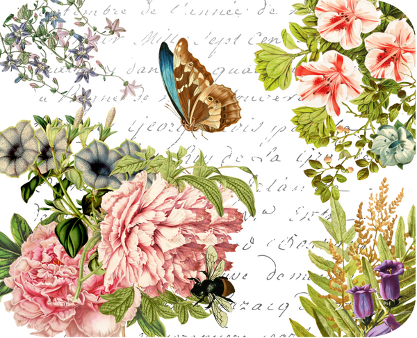 "Butterfly Floral Botanical Hot Plate/Mouse Pad  9 1/2"" x 7 3/4"""