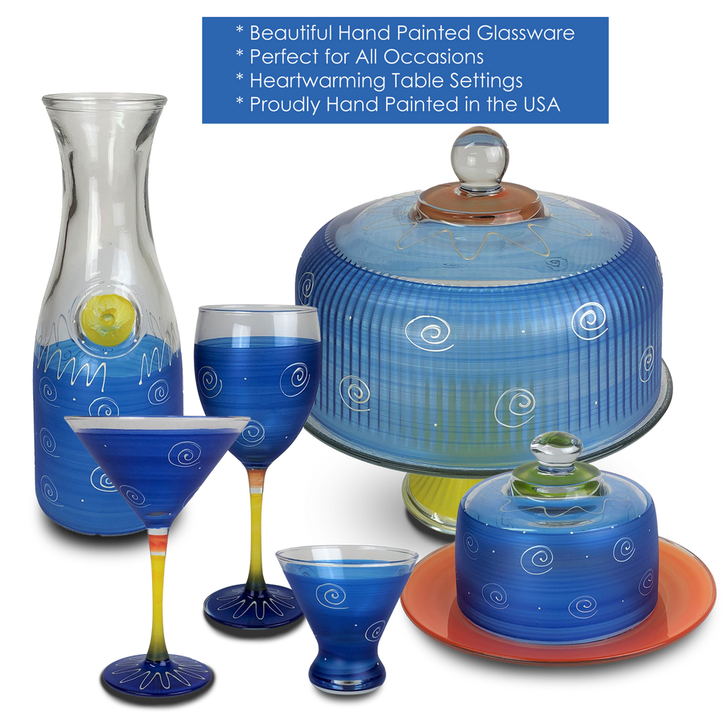 Peruvian Splendor Dk Blue Carafe - Golden Hill Studio