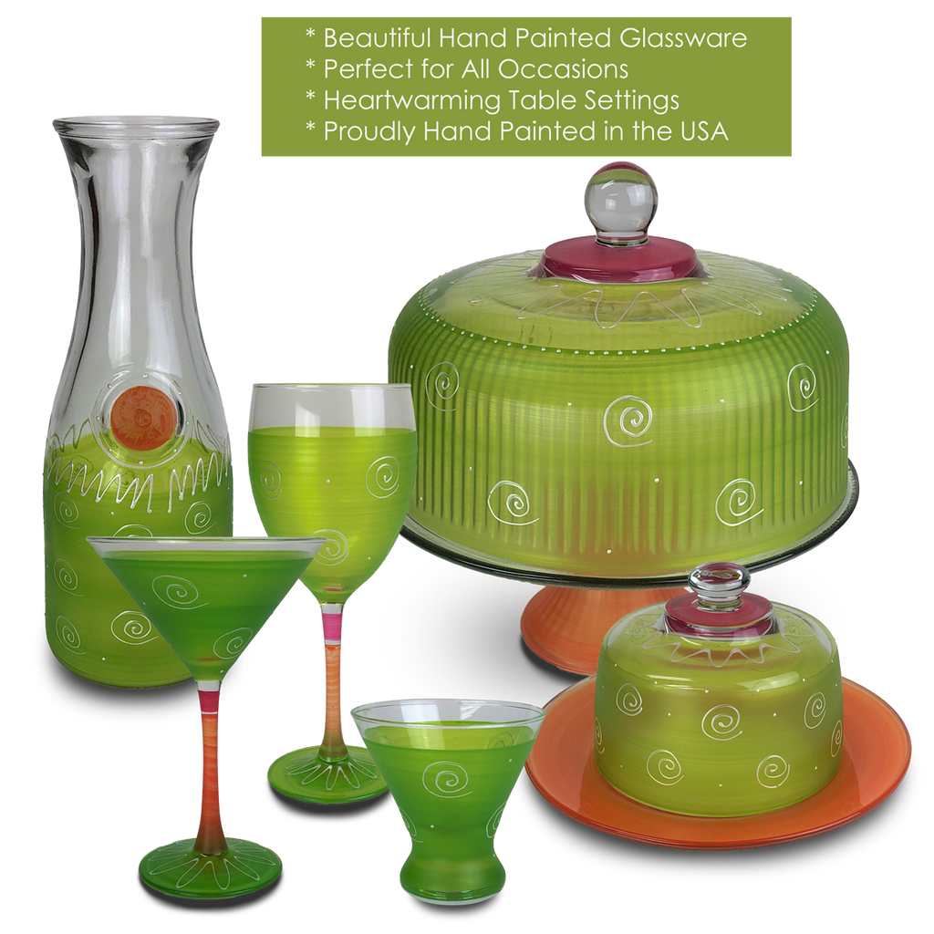 Peruvian Splendor Lt Green Martini   Set of 2 - Golden Hill Studio