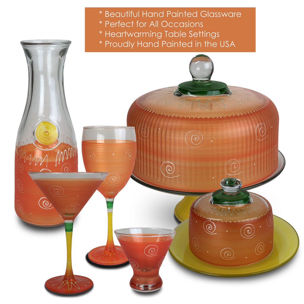 Peruvian Splendor Orange Margarita   Set of 2 - Golden Hill Studio