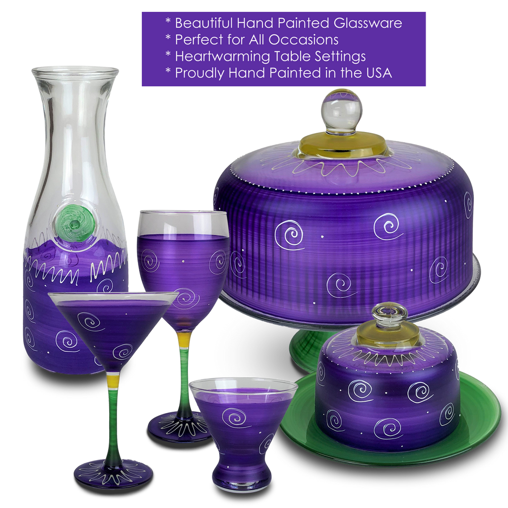 Peruvian Splendor Purple Margarita   Set of 2 - Golden Hill Studio