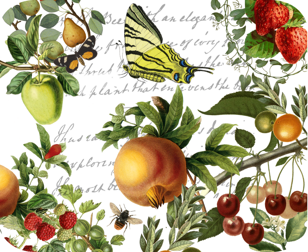 "Butterfly and Fruit Botanical Hot Plate/Mouse Pad  9 1/2"" X 7 3/4"" - Golden Hill Studio"