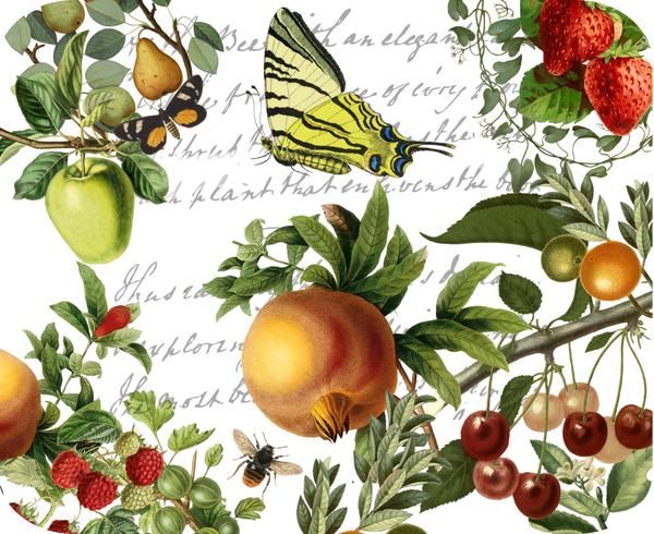 "Butterfly and Fruit Botanical Hot Plate/Mouse Pad  9 1/2"" X 7 3/4"""