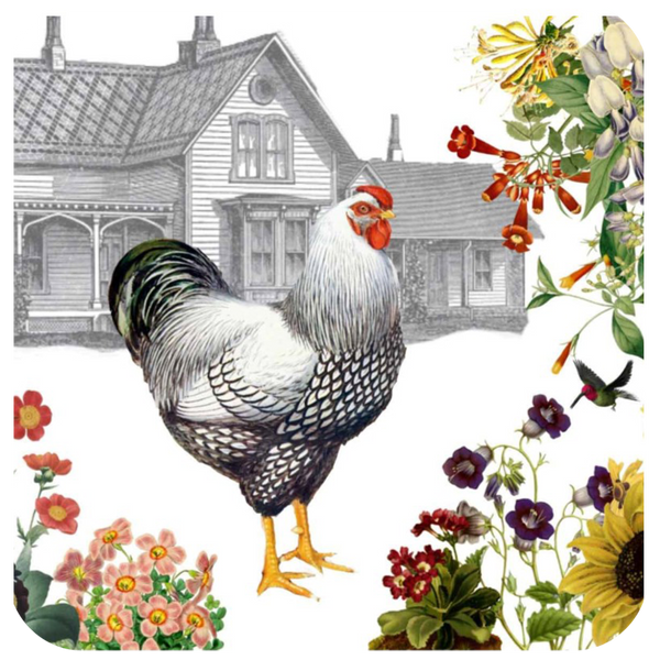Hen & Farmhouse Coaster S/6 - Golden Hill Studio