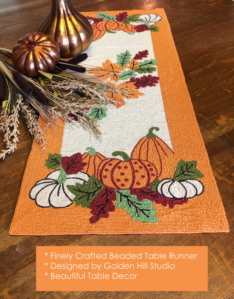 Autumn Harvest Beaded Table Runner - Golden Hill Studio