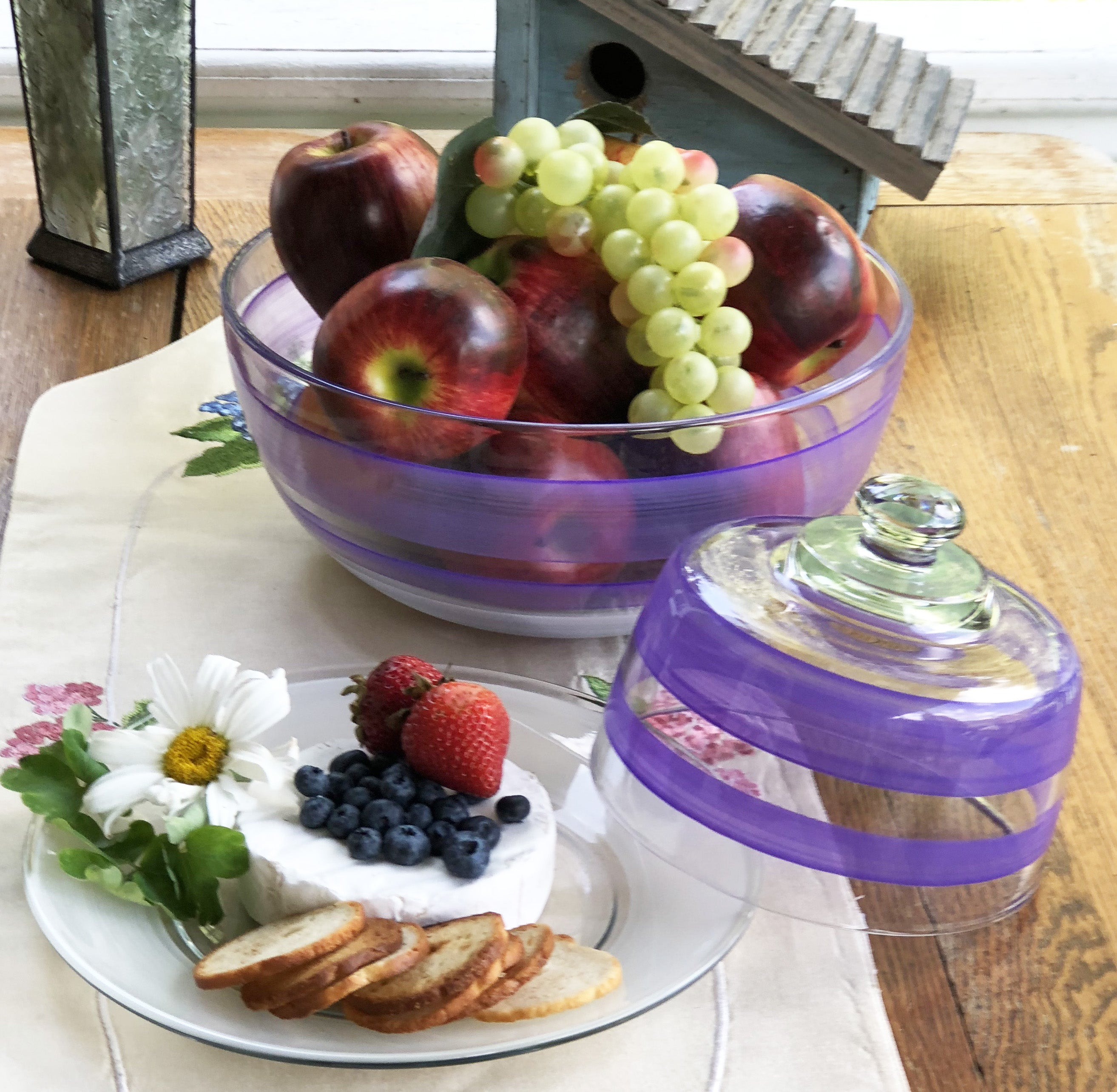 Cape Cod Cottage Stripe Purple Cheese Dome - Golden Hill Studio