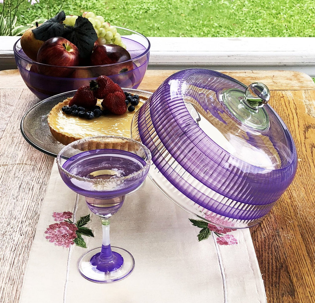 Cape Cod Cottage Stripe Purple Margarita   Set of 2 - Golden Hill Studio