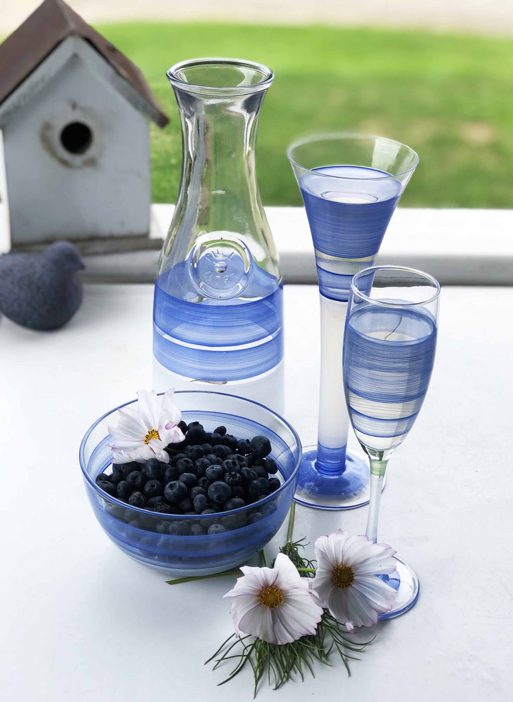 Cape Cod Cottage Stripe Blue Carafe - Golden Hill Studio