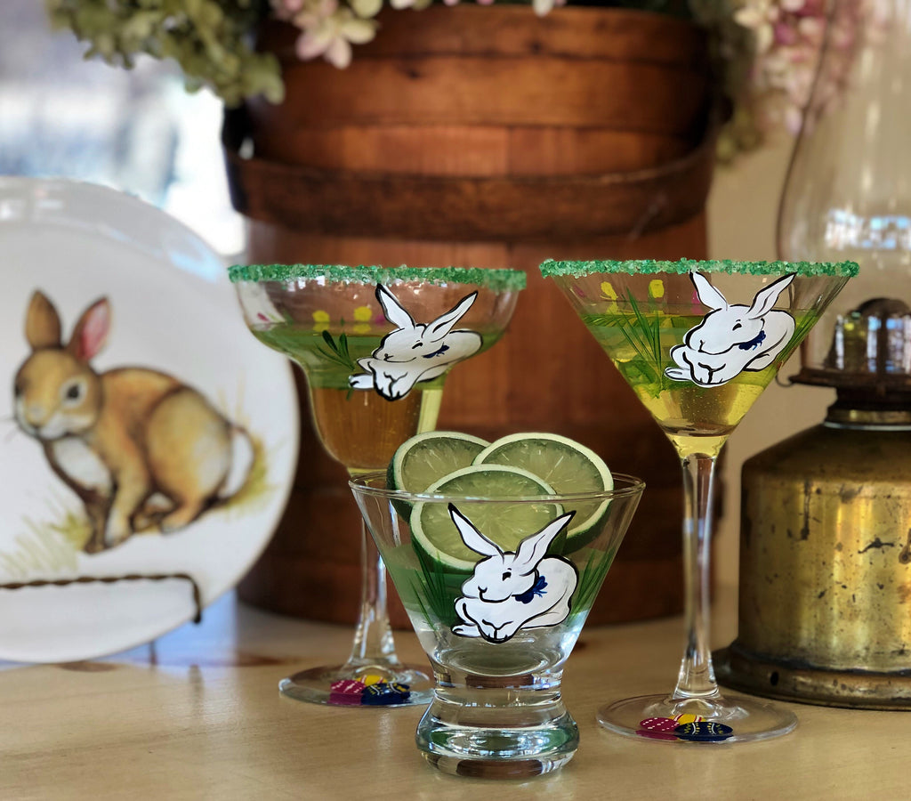 Springtime Bunny and Tulips Margarita Glass S/2 - Golden Hill Studio