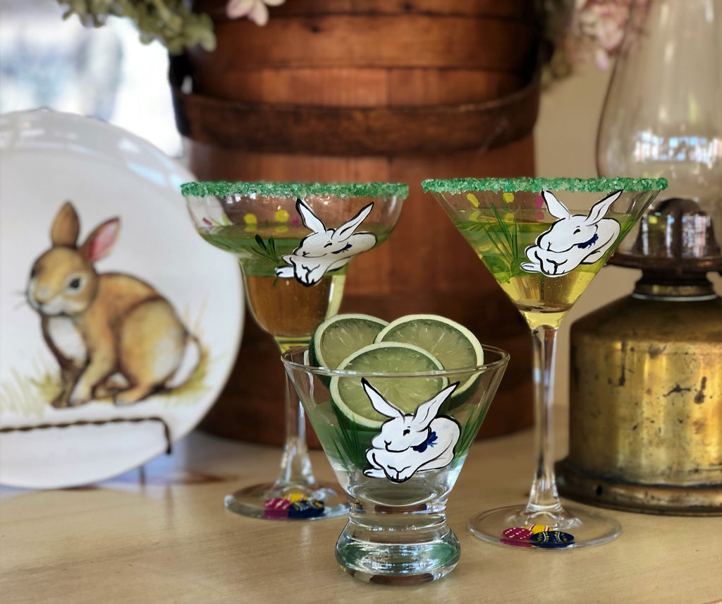 Springtime Bunny and Tulips Martini Glass S/2 - Golden Hill Studio