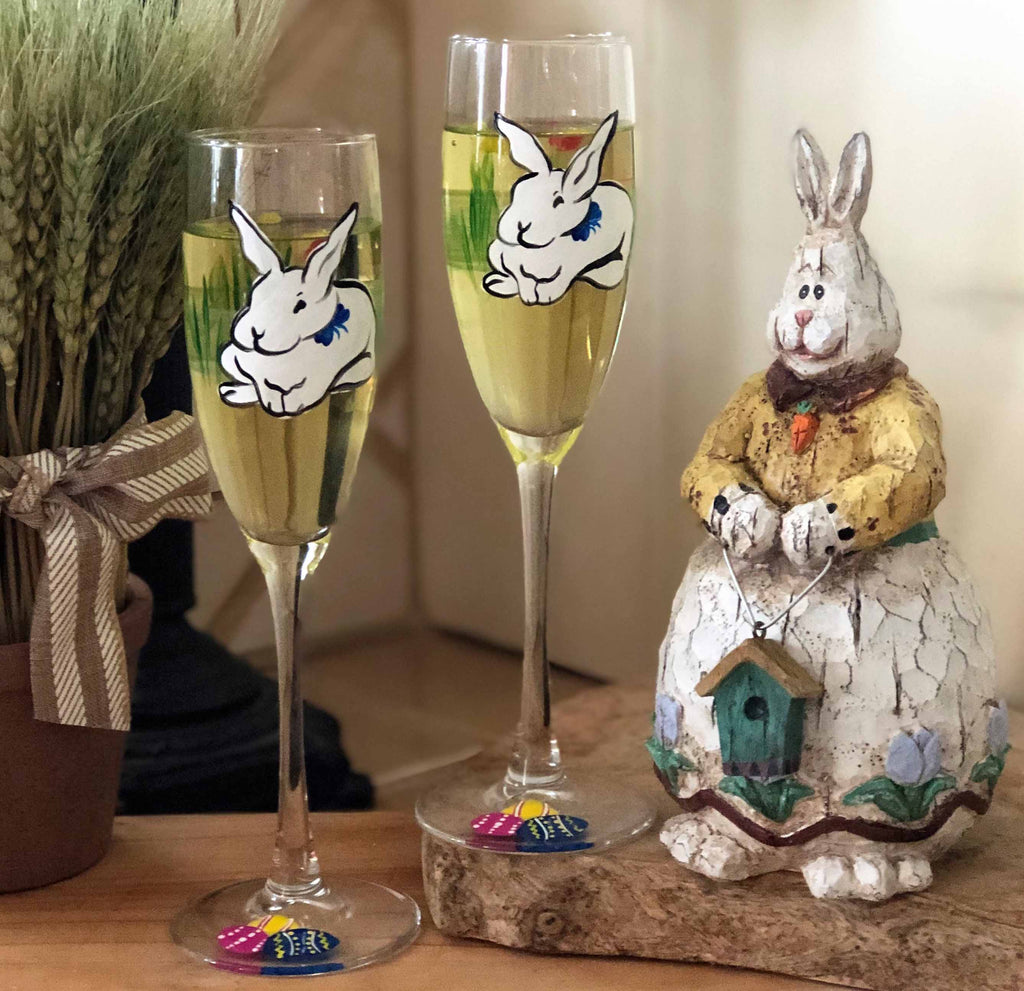 Springtime Bunny and Tulips Champagne Glass S/2 - Golden Hill Studio