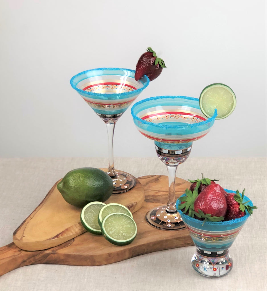Moroccan Mosaic Carnival Martini   Set of 2 - Golden Hill Studio