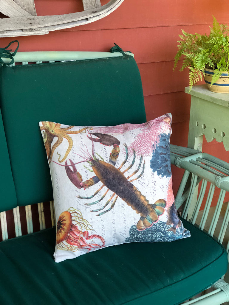 "Lobster and Coral Pillow 18"" x 18"" - Golden Hill Studio"