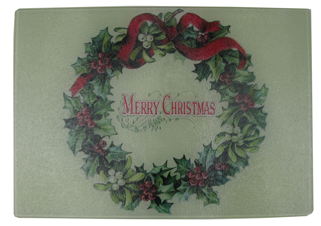 Merry Christmas Wreath Cheese Tray/Cutting Board - Golden Hill Studio