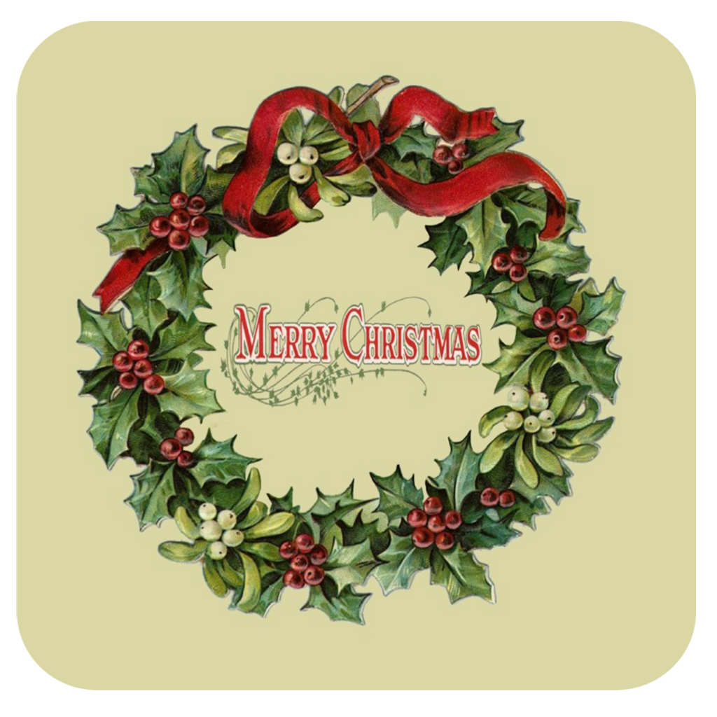 Merry Christmas Wreath Coaster S/6 - Golden Hill Studio
