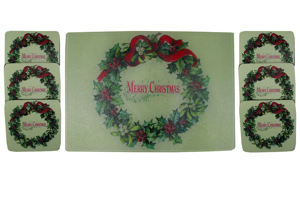 Merry Christmas Wreath Cheese Tray/Cutting Board & Coaster Set - Golden Hill Studio