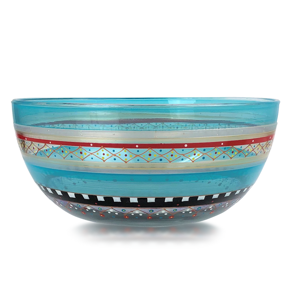 "Moroccan Mosaic Carnival 11"" Bowl - Golden Hill Studio"
