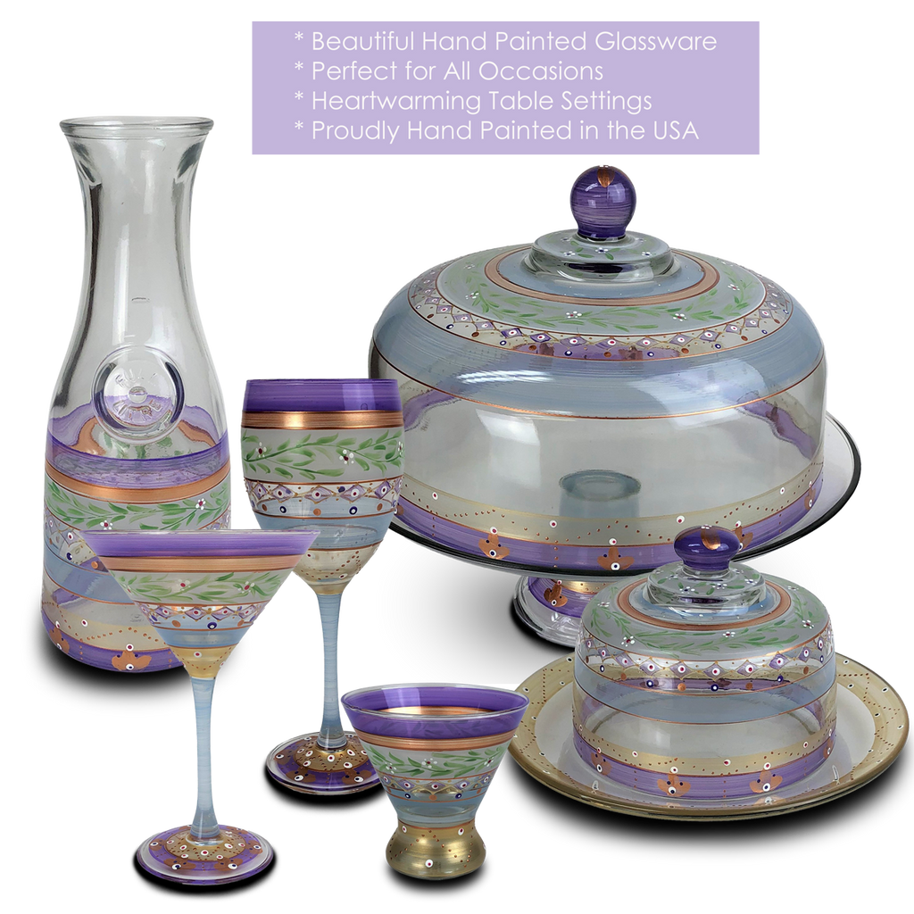 Moroccan Mosaic Lilac Lg Cake Dome - Golden Hill Studio
