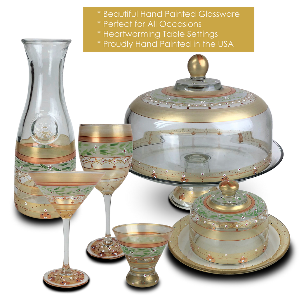 Moroccan Mosaic Gold Margarita   S/2 - Golden Hill Studio