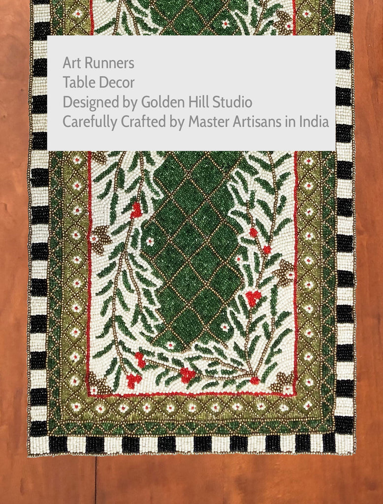 Moroccan Mosaic Forest Table Runner - Golden Hill Studio