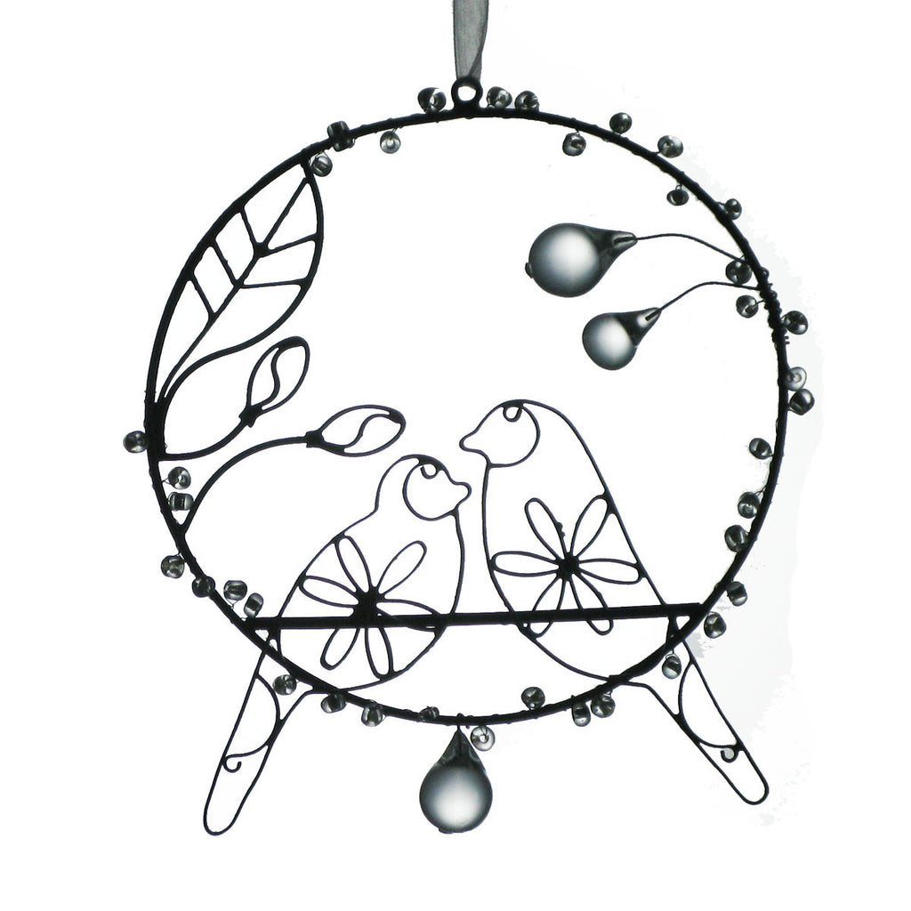 NA118  Rusted Wire Circle/2 Birds - Golden Hill Studio