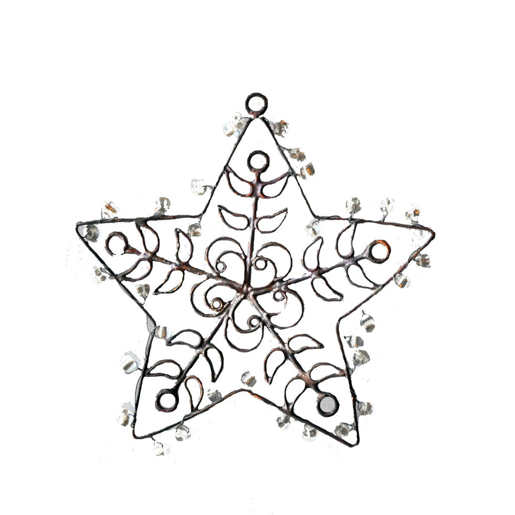 NA122  Rusted wire Star Orn. w/Beads - Golden Hill Studio