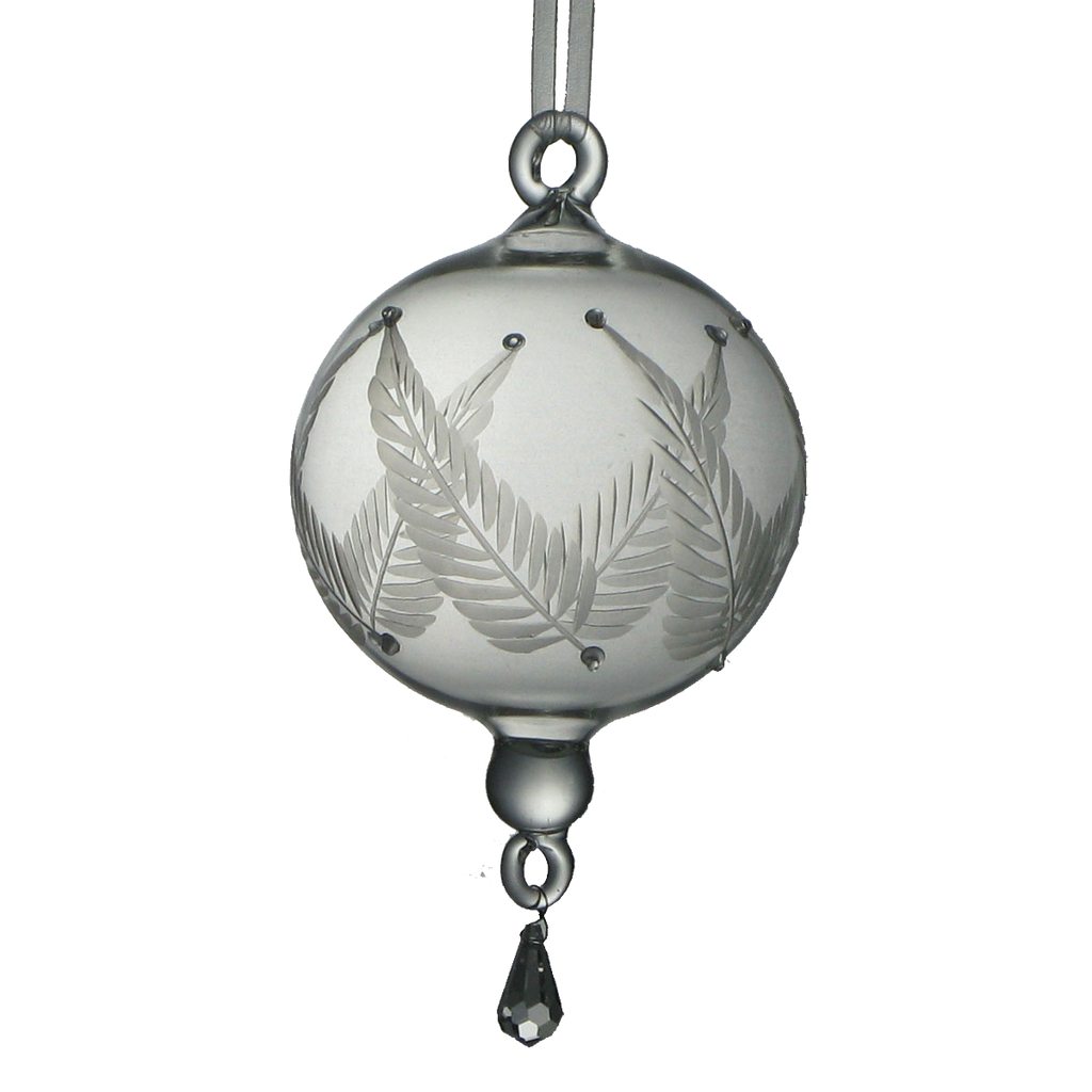 Glass Ornament with Etched Leaves Large - Golden Hill Studio